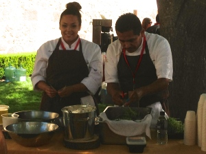 Cooks from Meadowood prepare fresh spring peas for their dish at the Marketplace